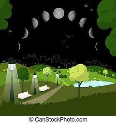 ville, phases, ciel, parc, lune, nuit