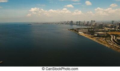 ville, philippines, aérien, gratte-ciel, makati., manille, bâtiments.