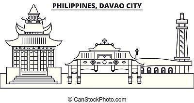 ville, philippines, illustration., paysage., repères, célèbre, horizon, vecteur, vues, cityscape, ligne, davao, linéaire
