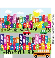 ville, pictograms, dessin animé, gens