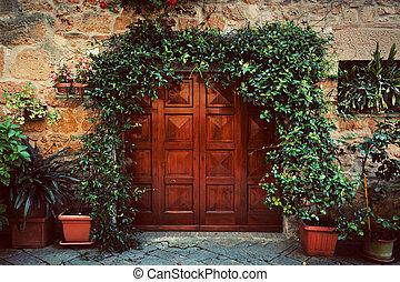ville, pienza, vieux, bois, vendange, italy., dehors, retro, maison, petit, porte, italien