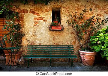 ville, pienza, vieux, vendange, italy., banc, dehors, retro, maison, petit, italien