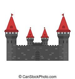 ville, pierre, concept, moyen-âge, vecteur, fantasme, extérieur, extérieur, monument, château, icon., histoire