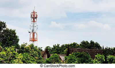 ville, pilier, télécommunication