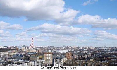 ville, plante, puissance, canaux transmission, ciel, contre,...