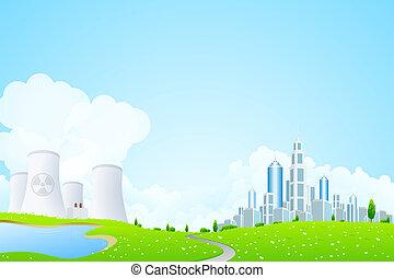 ville, plante, puissance, nucléaire, lac, paysage vert