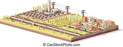 ville, plante, puissance, poly, vecteur, bas, solaire