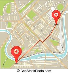 ville, plat, carte, résumé, illustration, conception, epingles, rouges
