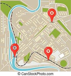 ville, plat, résumé, illustration, carte, conception, rouges, pins.
