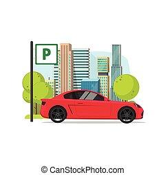 ville, plat, signe, voiture, illustration, automobile, secteur, scène, vecteur, garé, lot, stationnement, route, dessin animé, urbain