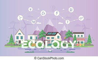 ville, plat, style, moderne, -, illustration, vecteur, conception, eco-amical