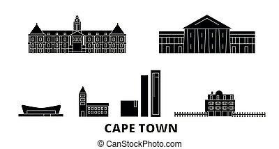 ville, plat, vues, illustration, voyage, landmarks., symbole, horizon, vecteur, noir, afrique, cap, ville, sud, set.