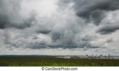 ville, pluvieux, nuages, au-dessus, voile