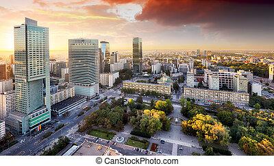 ville, pologne, moderne, gratte-ciel, coucher soleil, varsovie