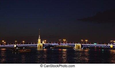 ville, pont-levis, nuit