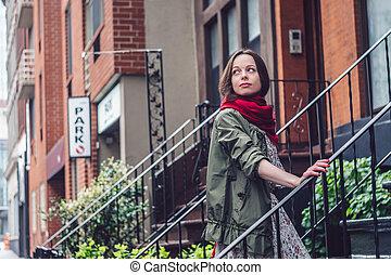 ville, porche, york, nouveau, girl, séduisant