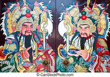 ville, porte, dieu, traditionnel, thailand., portail, porcelaine, type, temple