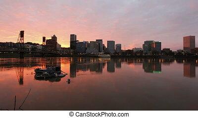 ville, portland, coucher soleil, horizon