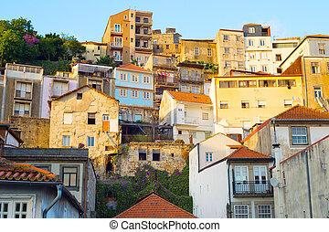 ville, porto, architecture, vieux, portugal