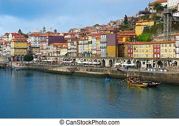 ville, porto, portugal, vieux
