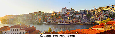 ville, porto, portugal, vieux, panorama