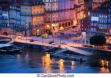 ville, porto, vieux, portugal, crépuscule
