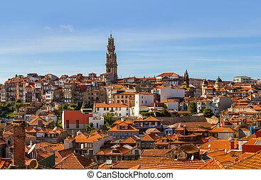 ville, porto, vieux, -, portugal