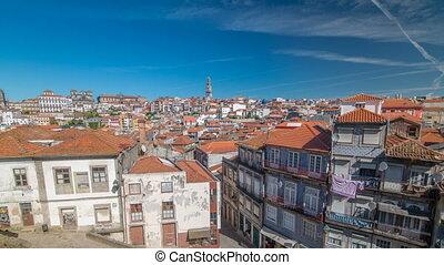 ville, porto, vieux, portugal, présentation, timelapse, panoramique