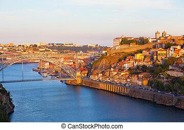 ville, portugal, par, porto, levers de soleil, pont, rivière, douro