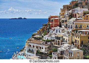 ville, positano, maisons, italie, coloré, littoral