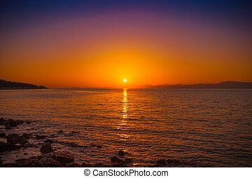 ville, postira, port, -, coucher soleil, petit, croatie, vue
