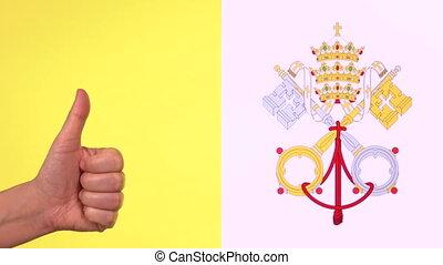 ville, pouce, espace, drapeau, haut, état, vatican, approbation, copie, geste