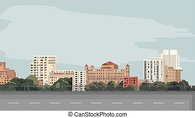 ville, premier plan, route, vide, chagrin