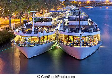 ville, promenade, avignon., bateaux, plaisir, sunset.