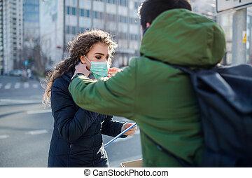 ville, protection, coronavirus, prévention, concept.