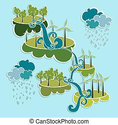 ville, puissance, elements., eco, vert, amical
