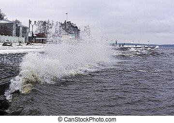 ville, quai, hiver, orage, lac