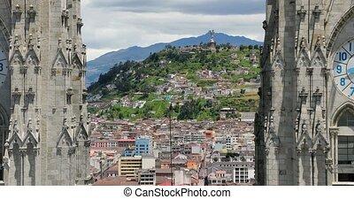 ville, quito, cathédrale, panorama, ecudador