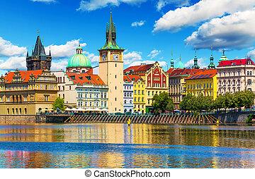 ville, république tchèque, vieux, prague