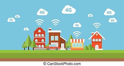 ville, réseau, bande large, internet sans fil, 4g, ifi, intelligent