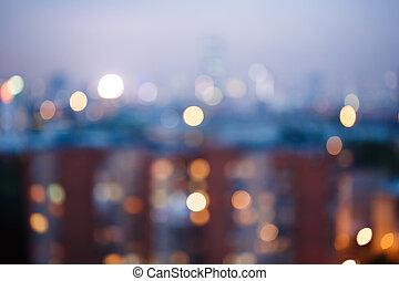 ville, résumé, arrière plan flou, lumières