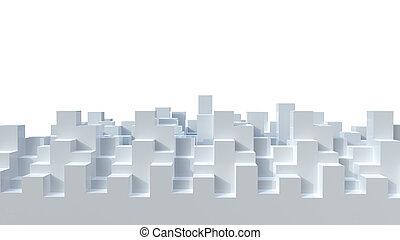ville, résumé, fait, cubes