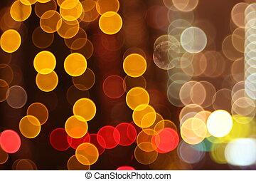 ville, résumé, flash, lumières, nuit, cercle