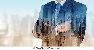 ville, résumé, homme affaires, exposition,  double