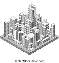 ville, résumé, isométrique