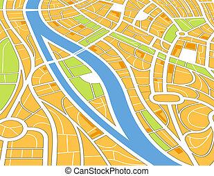 ville, résumé, perspective, illustration, carte