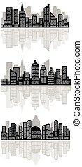 ville, résumé, silhouette