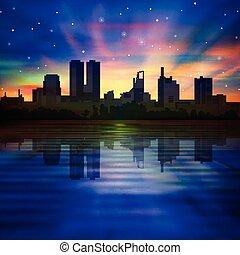 ville, résumé, silhouette, fond, nuit