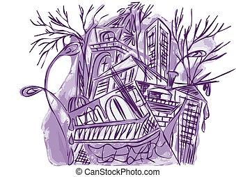 ville, résumé, violet