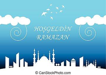 ville, ramadan, paysage, nuit